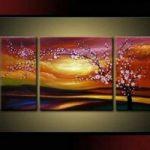 アートパネル 『梅のある日暮れの情景』 計3枚組
