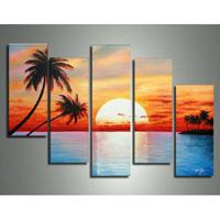 アートパネル 『椰子と夕日』 20x50cm他、計5枚組
