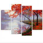 アートパネル 『湖の紅葉』 30x60cm x 2枚組他、計4枚組