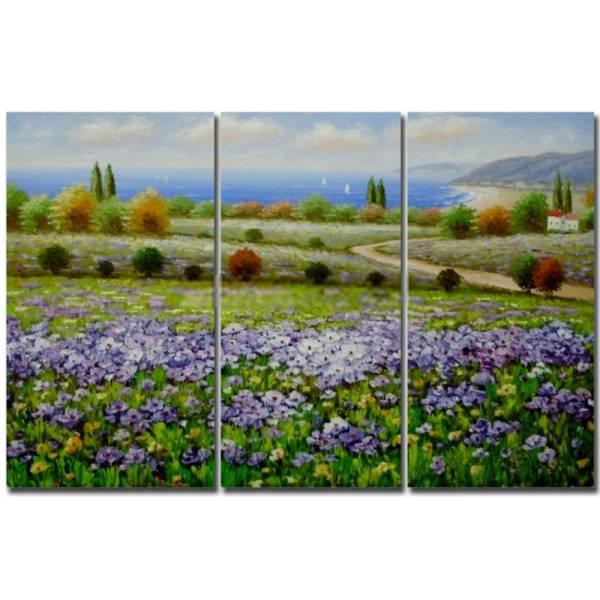 アートパネル 『花園と青い海』 25x50cm x 3枚組