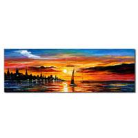 アートパネル 『夕日とヨット』 50x150cm x 1枚
