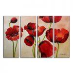 アートパネル 『赤い花びらⅣ』 30x80cm、4枚組