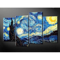 アートパネル ゴッホ『星月夜』 4枚組 模写