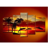 アートパネル 『イルカと椰子の木』 5枚組