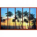アートパネル 『ヤシのある海辺』 20x80cm x 5枚組