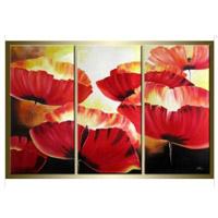 アートパネル 『赤い花』 25x50cm x 3枚組