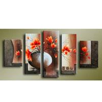 アートパネル 『花瓶の赤い花』 25x40cm、2枚他、計5枚組