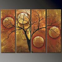 アートパネル 『月と枯れ木』 25x70cm x 4枚組