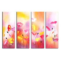 アートパネル 『ピンクと黄色の花々』 25x80cm x 4枚組