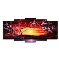 アートパネル 『梅と夕日』 30x70cm他、計5枚組