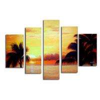 アートパネル 『ヤシのある南国の海』 25x90cm他、5枚組