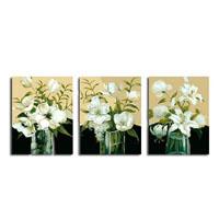 アートパネル 『花瓶の白い花々』 40x50cm x 3枚組