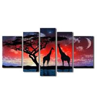 アートパネル 『キリンと夜空』 25x70cm他、計5枚組