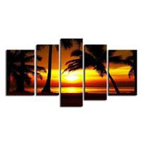 アートパネル 『椰子のある南国の海辺』 30x80cm他、計5枚組