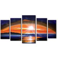 アートパネル 『夕焼けのある景色』 35x80cm他、5枚組