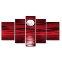 アートパネル 『赤い夜空と月』 25x75cm他、5枚組