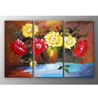 アートパネル 『赤と黄色の花』 30x60cm x 3枚組