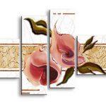 アートパネル 『赤い花びらⅥ』 20x60cm他、4枚組
