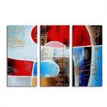 アートパネル 『抽象、赤と青』 30x60cm x 3枚組