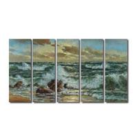 アートパネル 『浜と荒波』 25x75cm x 5枚組