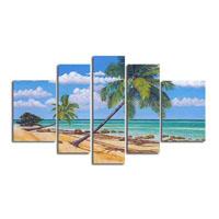 アートパネル 『南国ビーチの椰子の木』 30x90cm他、計5枚組