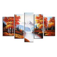 アートパネル 『山岳のある森の紅葉』 25x90cm他、5枚組