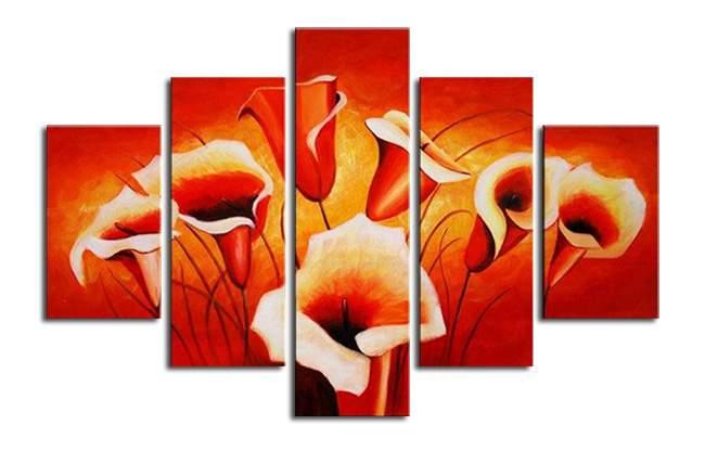 アートパネル 『花びらと赤』 25x90cm他、計5枚組