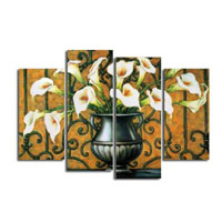 アートパネル 『花瓶のユリの花』 30x80cm x 2枚他、計4枚組