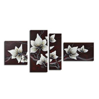 アートパネル 『白い花びらⅩ』 30x80cm他、計4枚組