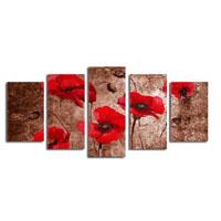 アートパネル 『赤い花Ⅴ』 30x75cm他、計5枚組