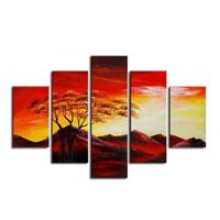 アートパネル 『赤い景色』 25x70cm他、計5枚組