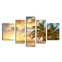 アートパネル 『南国の海辺と椰子』 25x70cm他、計5枚組