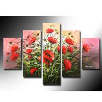 アートパネル 『赤いポピーの花』 30x50cm x 2枚他、計5枚組