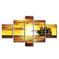 アートパネル 『夕日と帆船』 20x60cm他、5枚組