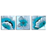アートパネル 『水色の花びら』 50x50cm x 3枚組