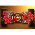 アートパネル 『玉と赤い花』 25x60cm x 2枚他、計5枚組