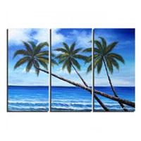 アートパネル 『南洋の楽園』 40x80cm x 3枚組 椰子 海