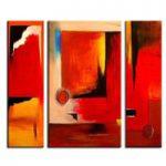 アートパネル 『赤い抽象』 40x70cm他、3枚組