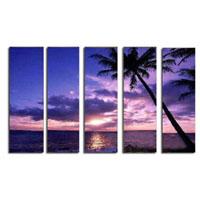 アートパネル 『椰子のある海の夕暮れ』 30x90cm x 5枚組