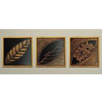 アートパネル 『葉、黒と茶』 40x40cm、3枚組