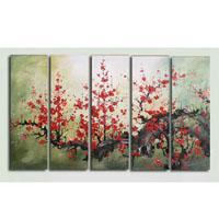 アートパネル 『梅の赤い花』 30x80cm、5枚組