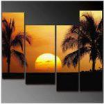 アートパネル 『南国の夕べ、椰子の木』 4枚組