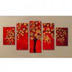 アートパネル 『樹木、金と赤』 30x50cm x 2枚他、計5枚