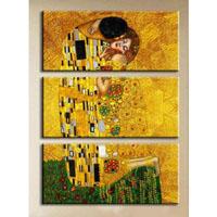 アートパネル 『クリムト・接吻』 40x80cm x 3枚組 模写