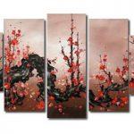 アートパネル 『紅梅Ⅴ』 30x80cm他、計5枚組 梅 梅の木