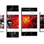 アートパネル 『白と赤』 20x60cm 他、計4枚組