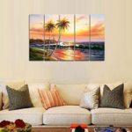 アートパネル 『椰子の木のある海辺』 25x80cm x 5枚組 南国 ハワイ ビーチ