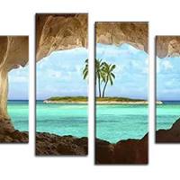 アートパネル 『南国の楽園』 30x80cm他、計4枚組 海 椰子