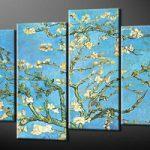 アートパネル ゴッホ『花咲くアーモンドの枝(ビッグサイズ)』 30x80cm x 2枚他、4枚組 模写