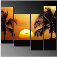 アートパネル 『南国の夕べ、椰子の木(ビッグサイズ)』 30x110cm他、計4枚組 太陽